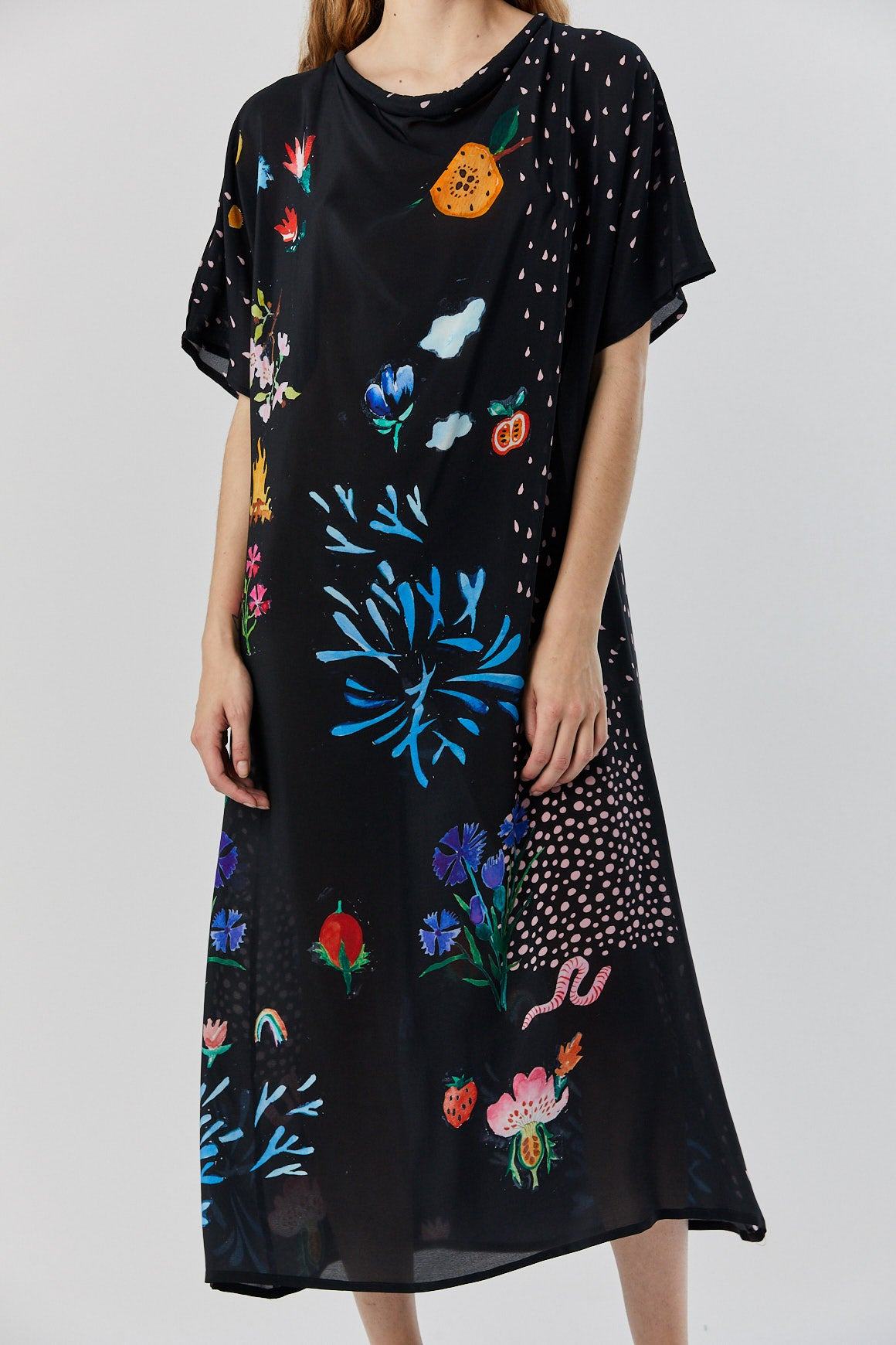 ANNTIAN - garden party dress, Black Floral