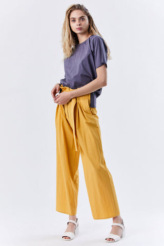 Belted Wide Leg Pants, Yellow
