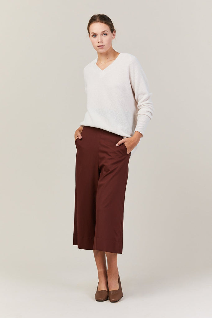 Demoo - Cropped Wide Pants, Brick