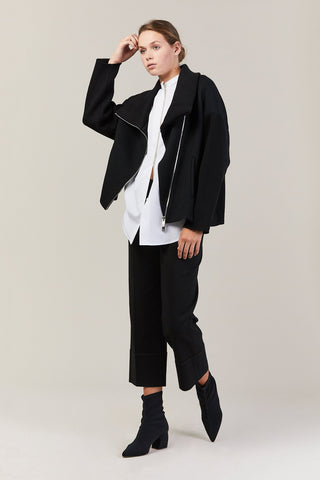 Knit Collar Jacket, Black