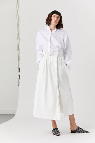 Paperbag Waist Skirt, White