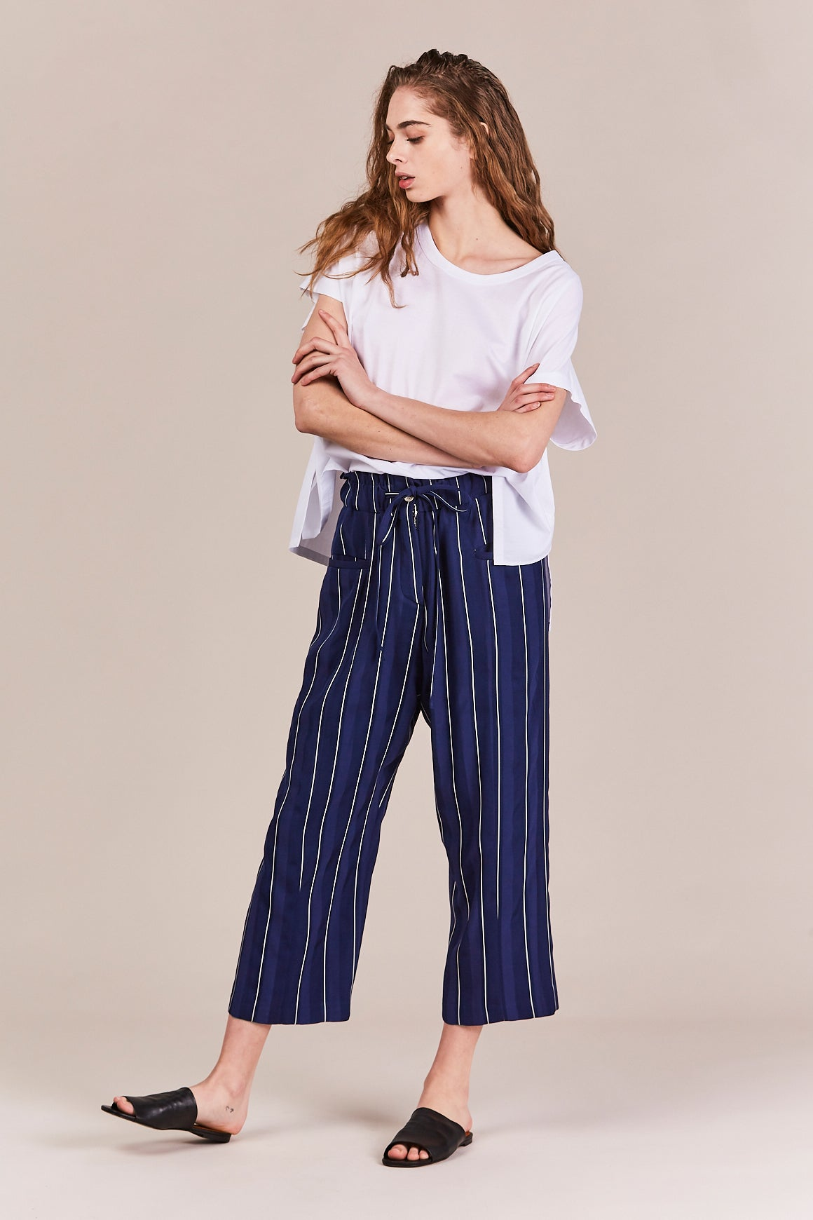stripe baggy pants