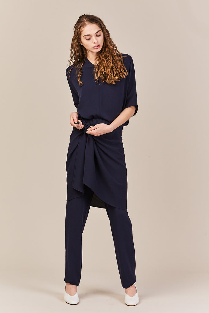 Wrap Pants, Navy