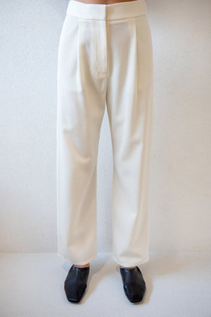 Dušan - gabardine work pants, white