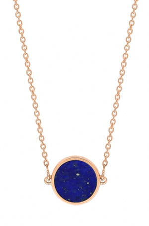 Ginette NY - mini ever lapis disc necklace, rose gold