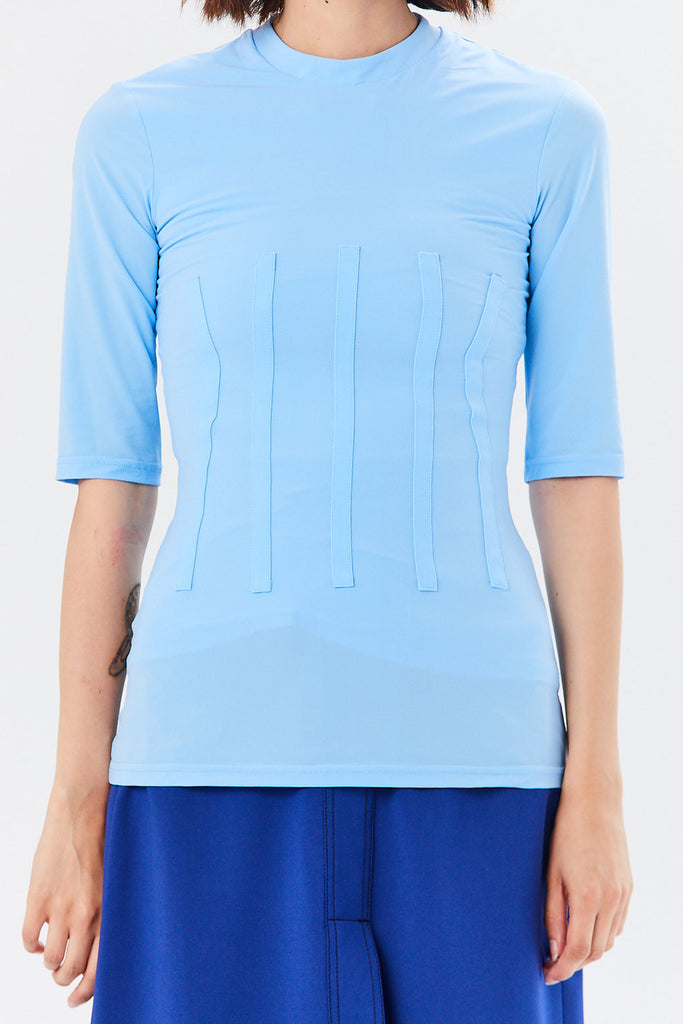 Ellery - Vitaly Corset T-Shirt, Light Blue