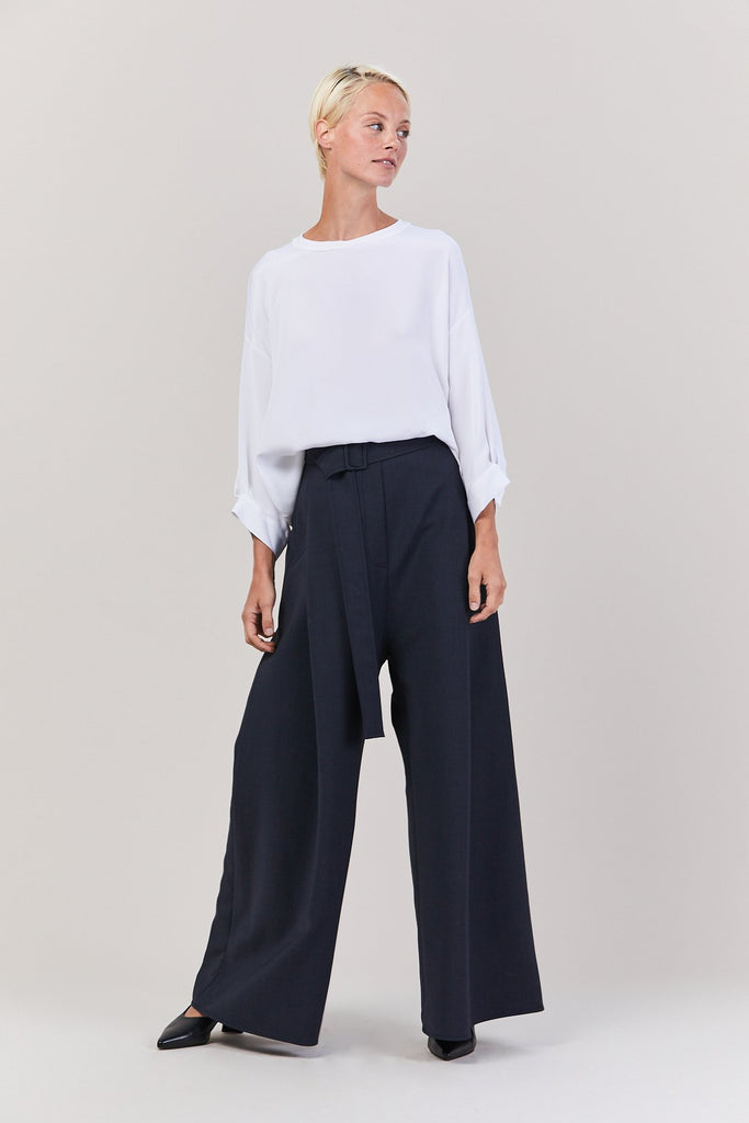 Ellery - Venturi Wide Leg Pleated Pant, Navy