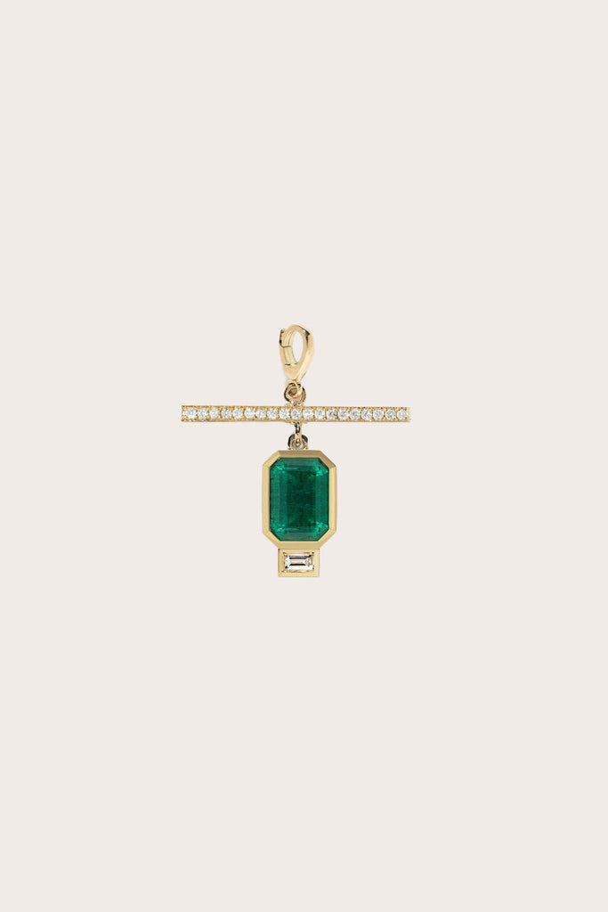 Emerald NESW Diamond Charm, Gold