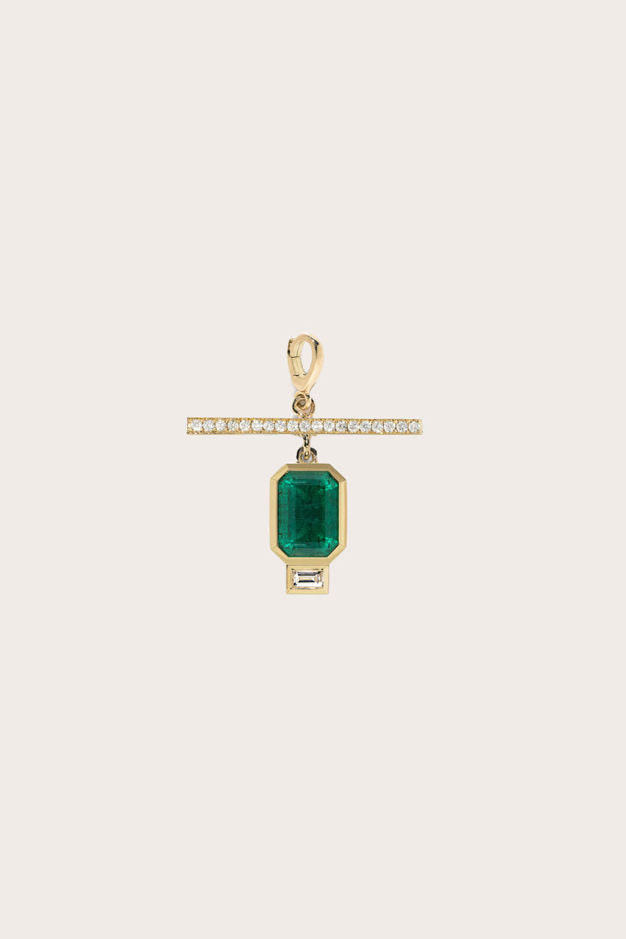 Azlee - Emerald NESW Diamond Charm, Gold