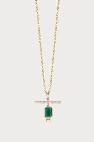 Emerald NESW Diamond Necklace, Gold