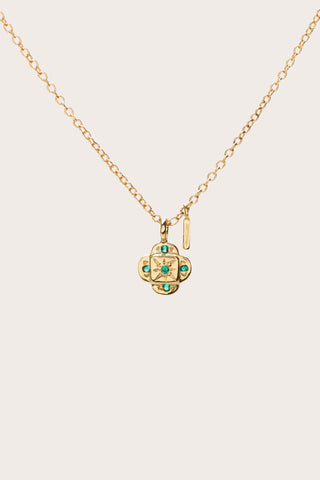 Endless Knot Pendant Necklace, Gold & Emeralds