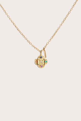 Endless Knot Pendant Necklace, Gold & Mixed Stones