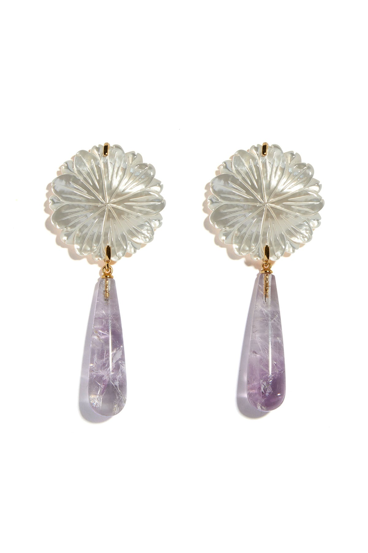 Lizzie Fortunato - lilac bloom earrings, amethyst