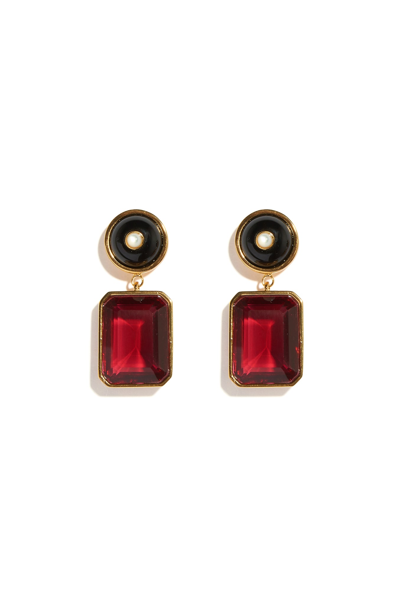 Lizzie Fortunato - tile earrings, ruby