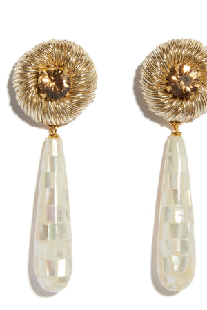 Lizzie Fortunato - deco drop earrings, mother of pearl