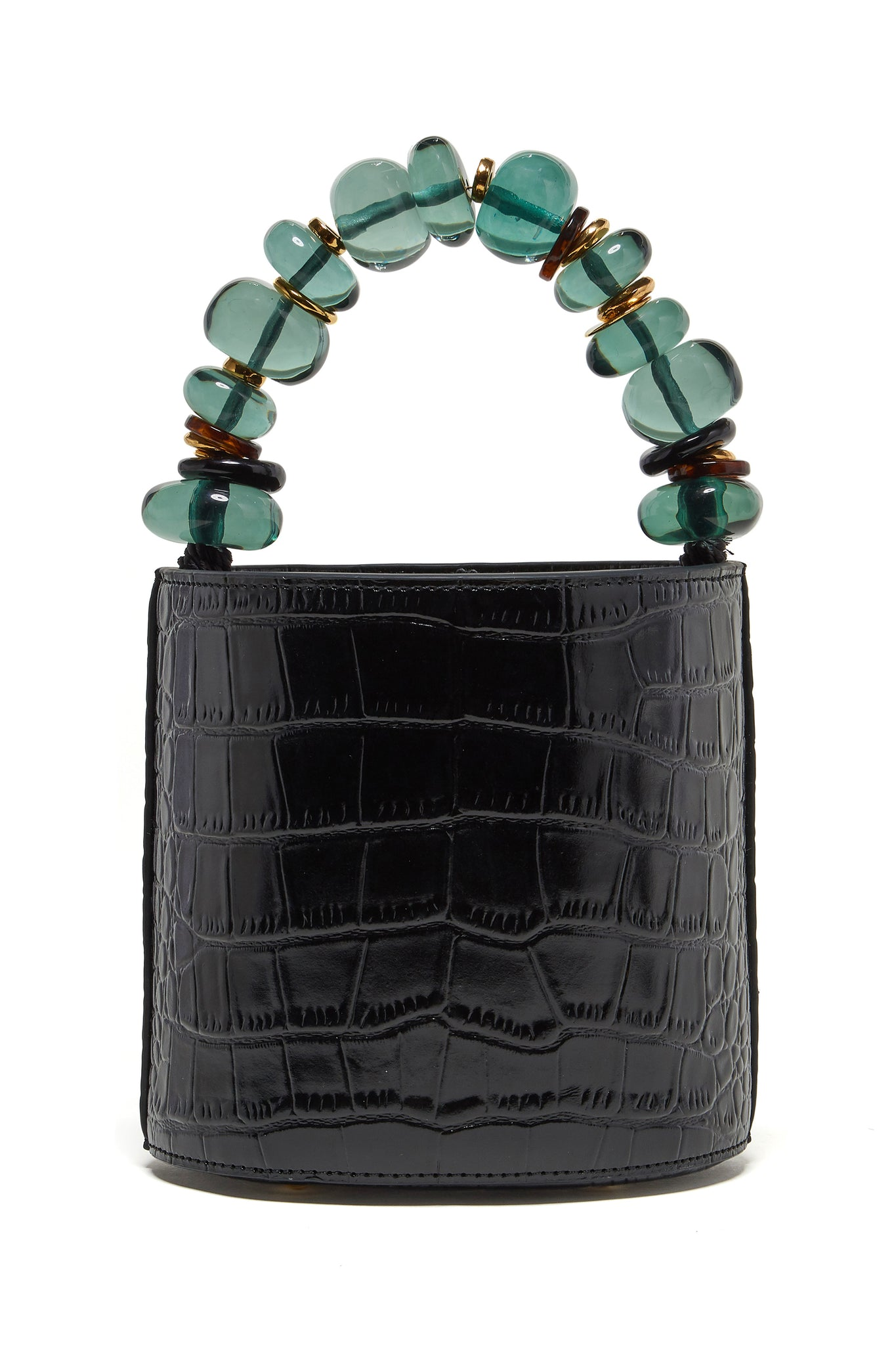 Lizzie Fortunato - florent bag, black crocodile