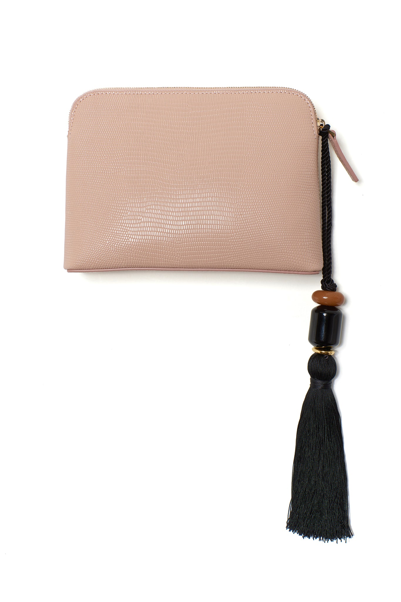 Lizzie Fortunato - mini safari clutch in lizard, blush