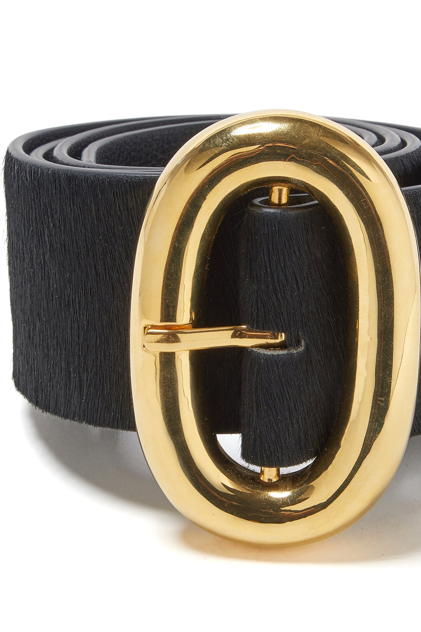 Lizzie Fortunato - icon belt in calf hair, black