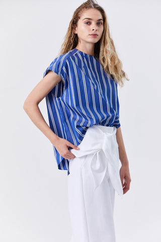 Hilde Blouse, Blue & White Stripe