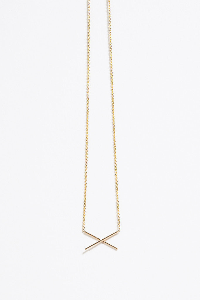 X Necklace, Gold