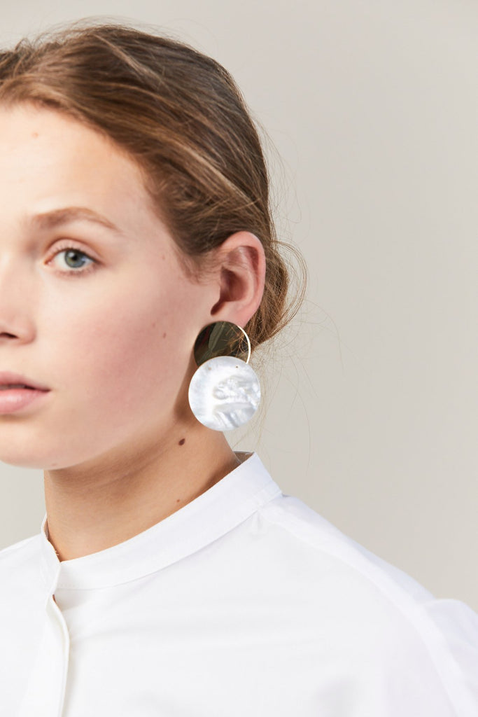 40mm Single Earring, Gold & Mother of Pearl