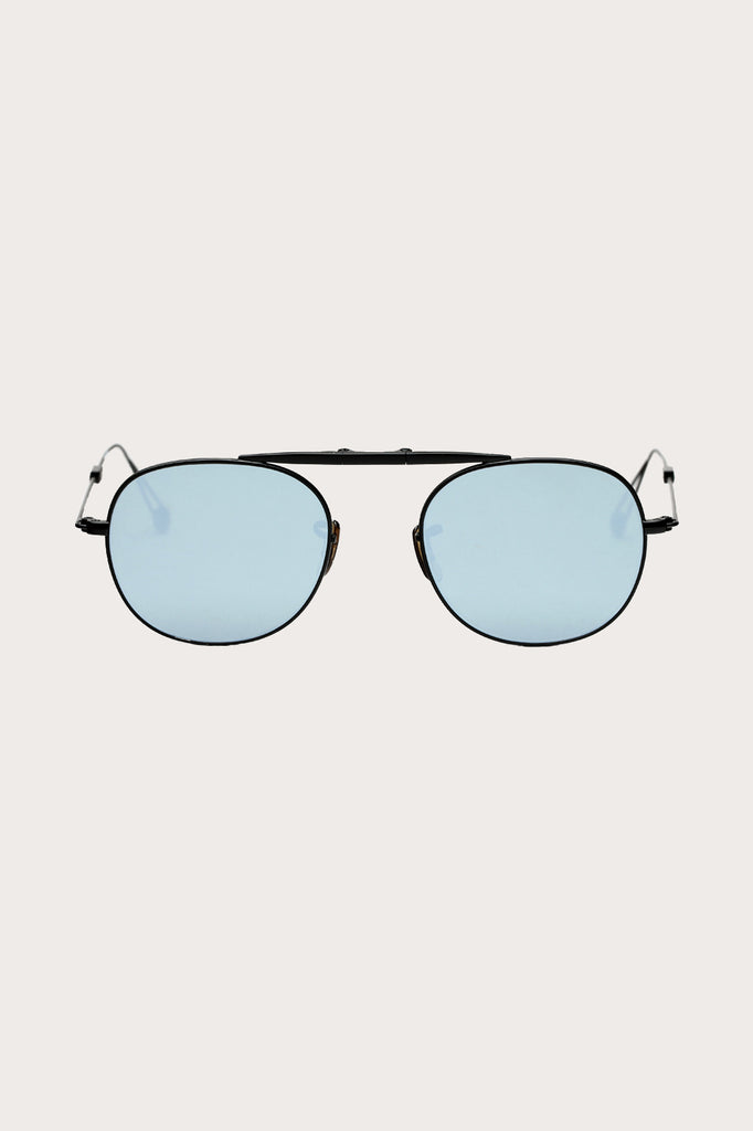 Garrett Leight - Van Buren, flat black with mirror lenses
