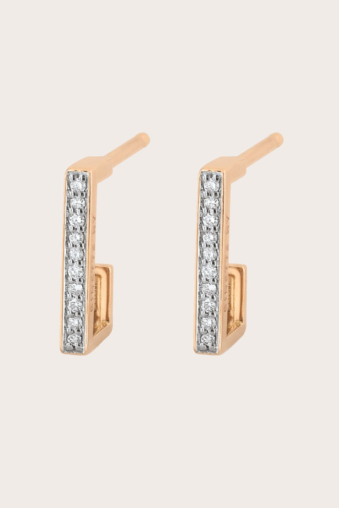 Art Deco Hoops, Rose Gold & White Diamond