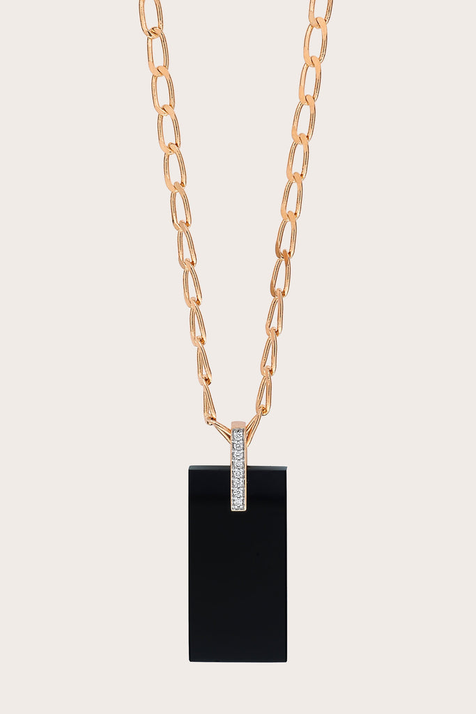 Ginette NY - Art Deco Necklace, Rose Gold with Onyx & White Diamond