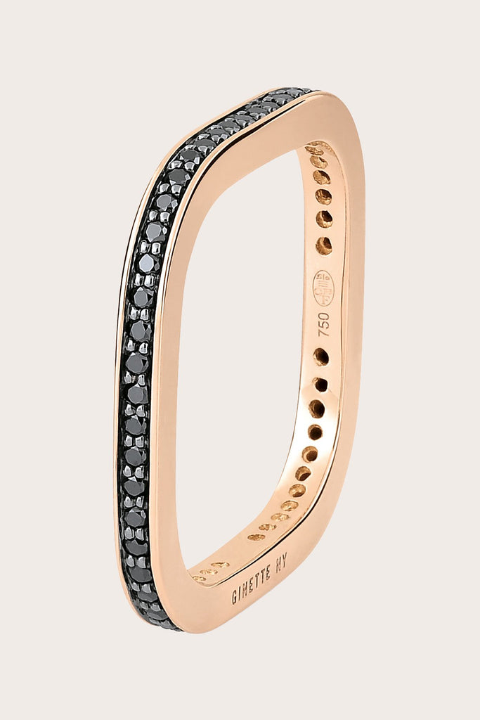 Ginette NY - TV Ring, Rose Gold with Black Diamond