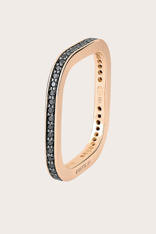 TV Ring, Rose Gold with Black Diamond