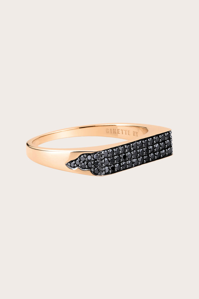 Ginette NY - Baguette Signet Ring, Rose Gold & Black Diamond
