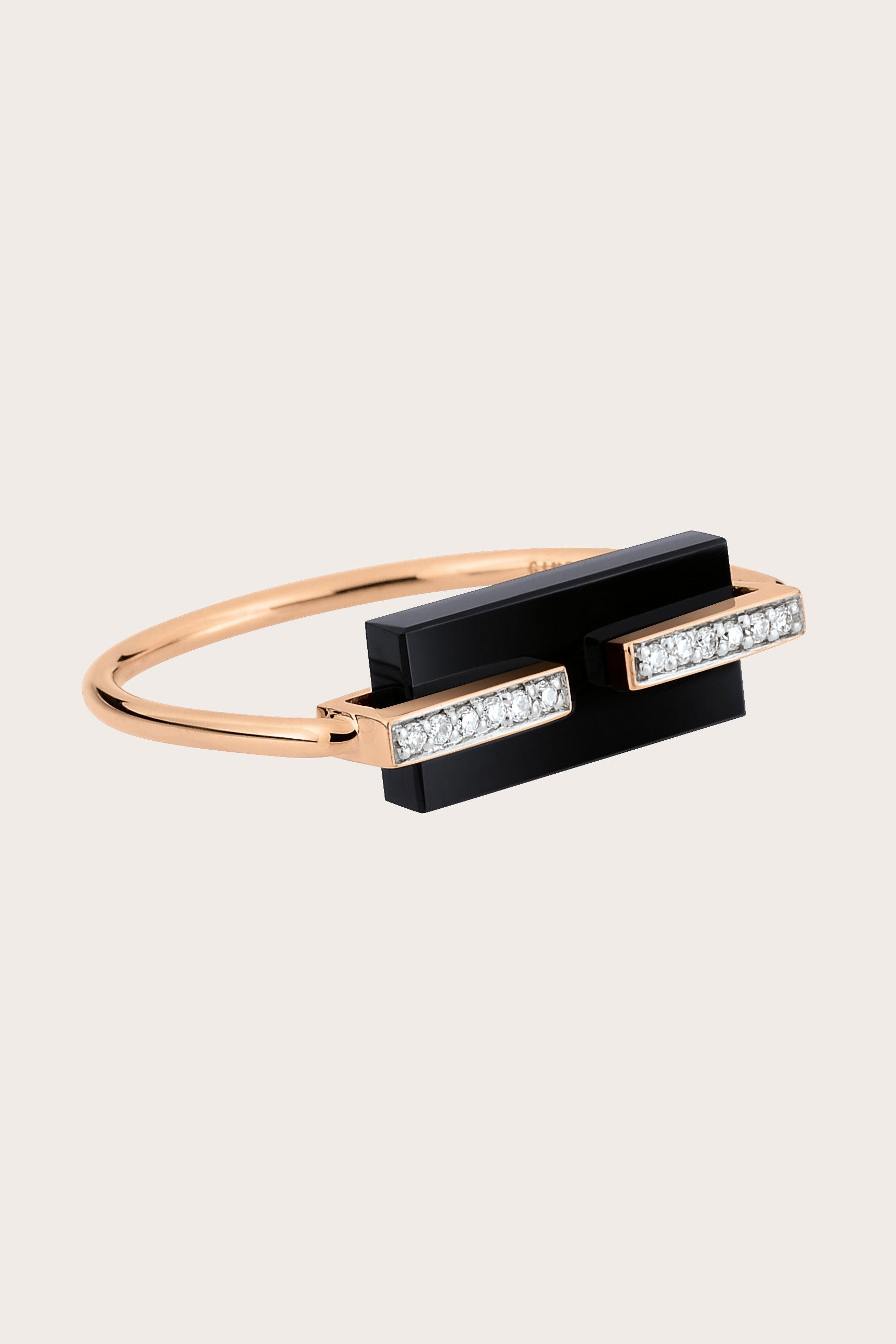 Ginette NY - Art Deco Ring, Rose Gold with Onyx & Black Diamond