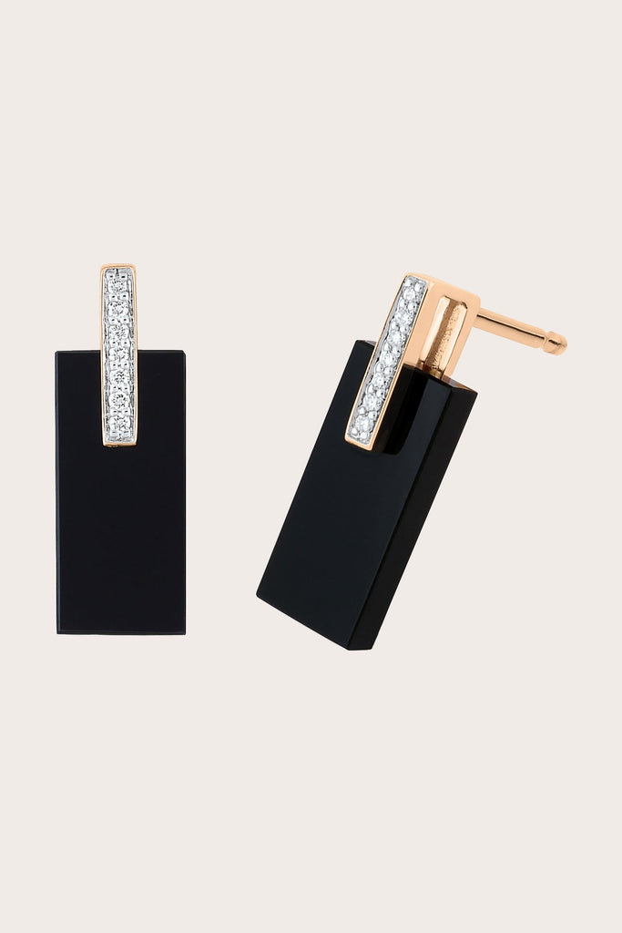 Art Deco Earrings, Rose Gold with Onyx & White Diamond