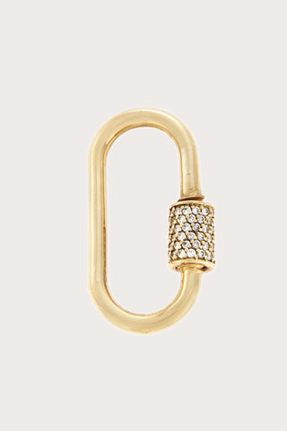 Medium Stoned Lock with Diamonds, Gold
