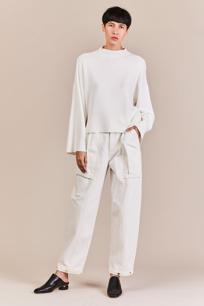 snap utility pant, pearl