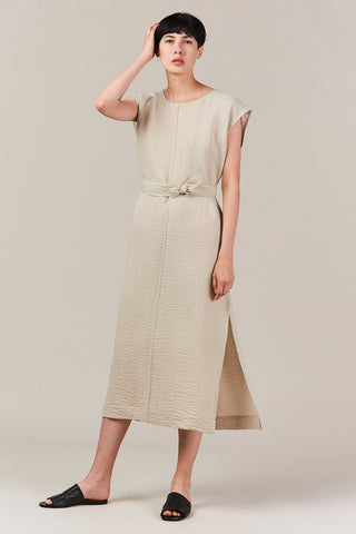 high slit column dress