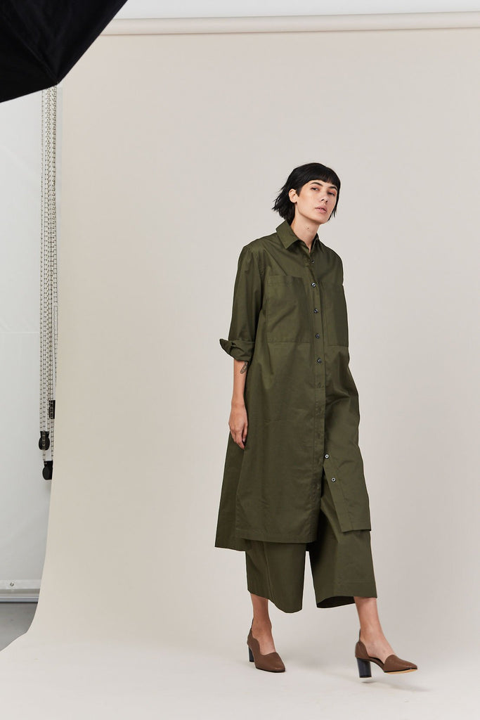 Two Pocket Shirt Dress, Army Green