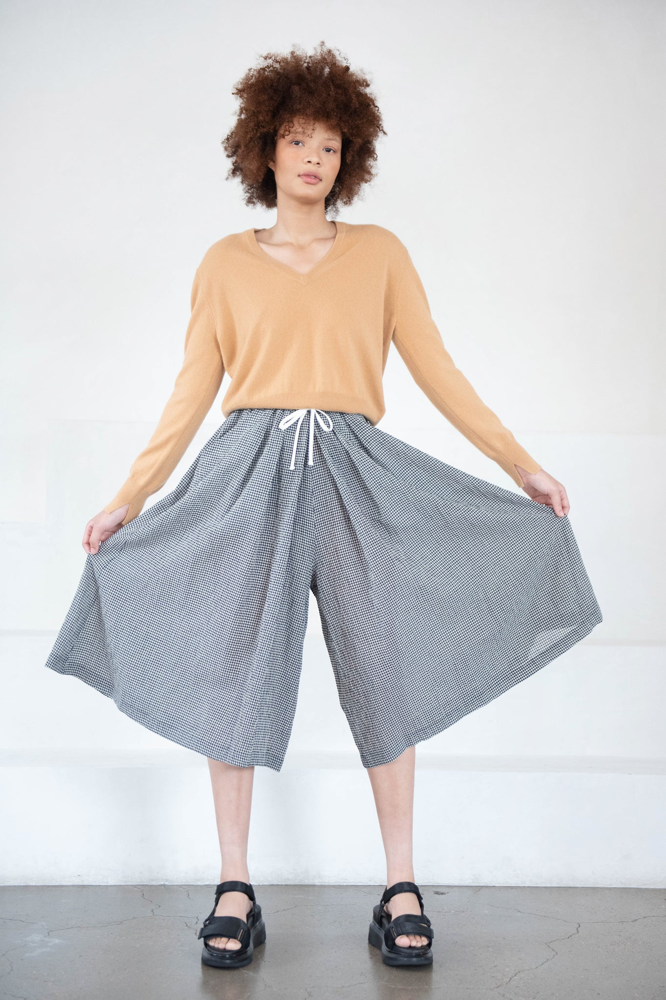 Hache - pant skirt, black and white