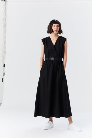 Dress with Belt, Black