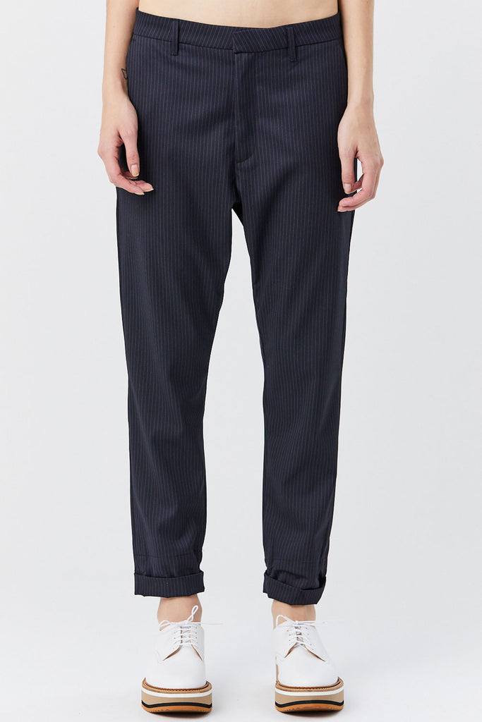 HOPE - News Trouser, Dark Blue Pinstripe