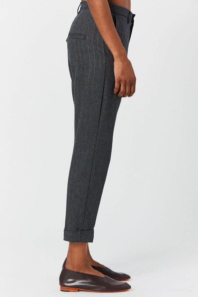 Hope - News Trouser, Charcoal with Yellow Stripes
