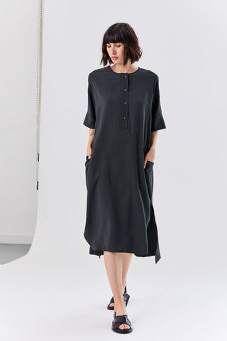 Row Dress, Faded Black
