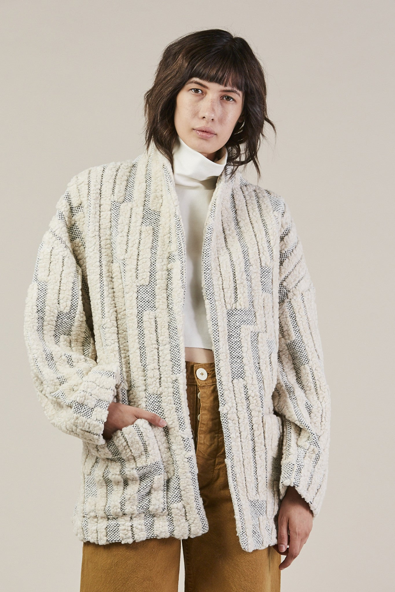 Patch Pocket Jacket, Grey/Cream by Horses Atelier @ Kick Pleat - 1