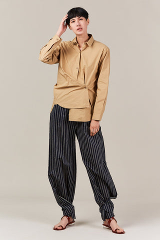 asymmetrical button down, desert