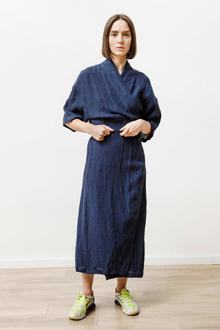 new wrap dress, indigo