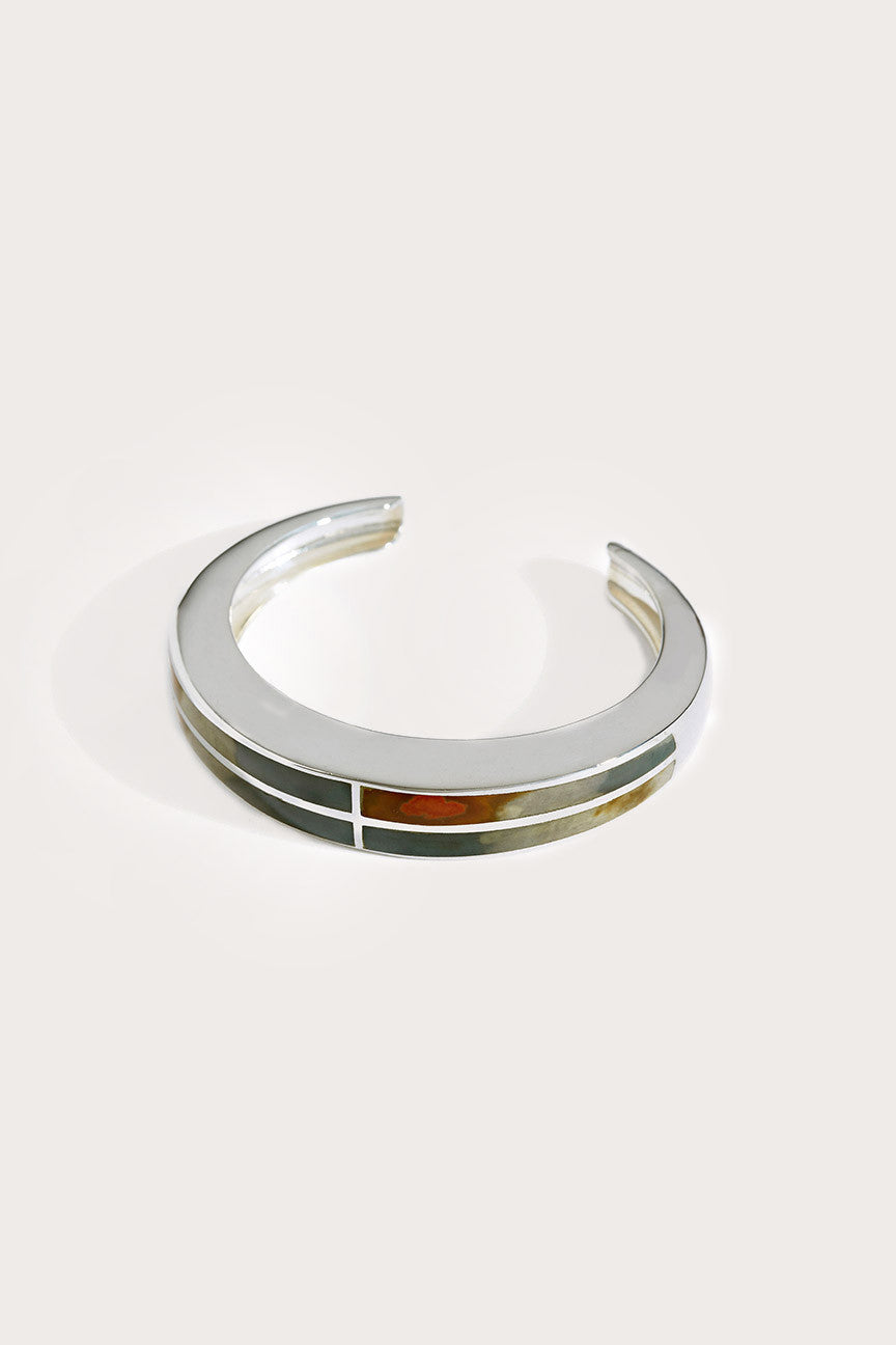 Inlay cross cuff,  silver by PAMELA LOVE @ Kick Pleat - 1
