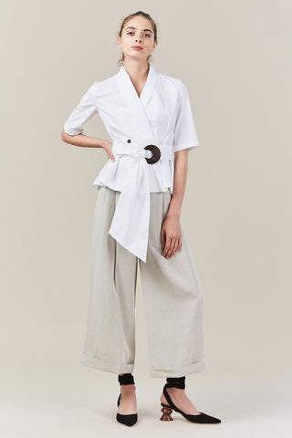 Robe top with sash, white