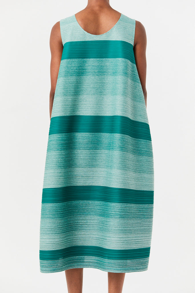 Pleats Please by Issey Miyake - Long Sleeveless Bounce Dress, Green