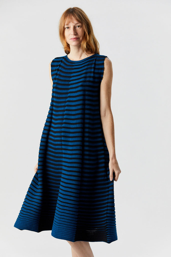 3D Stripe Knit Dress, Blue & Black
