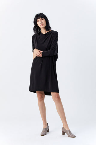 Drape Jersey Dress, Black